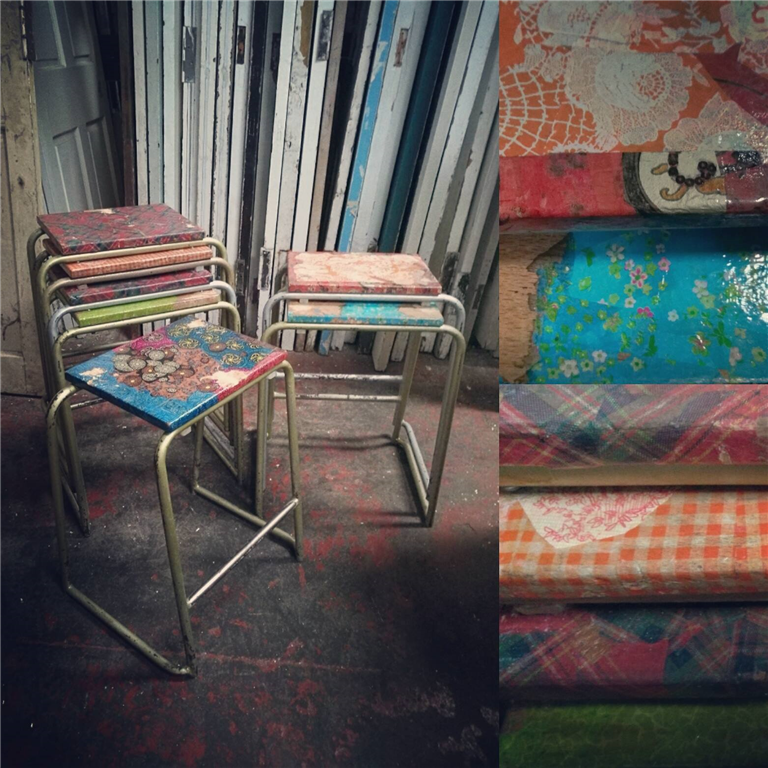 Salvaging and upcycled seating.  These particular stools are sold, but we do stock stools and chairs every so often. Gallery Image