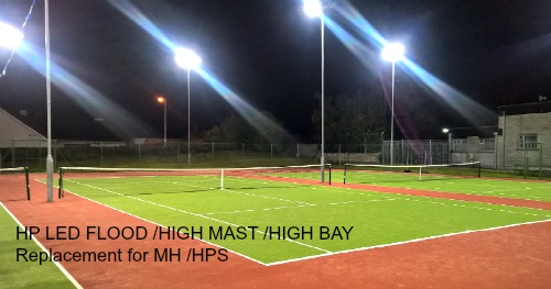 Tennis Court Club Lighting Upgraded to HP LED lighting specifically designed High Powered LED Modules.  Gallery Image