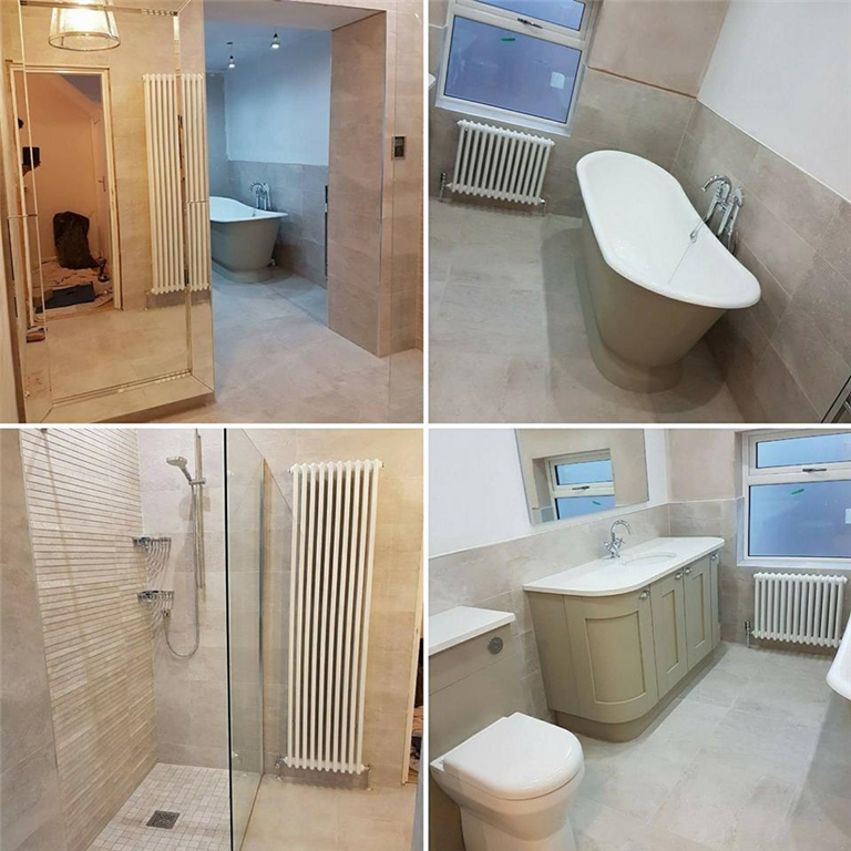 top of the range fitted bathroom with made to measure units and walk in shower by DKB Gallery Image
