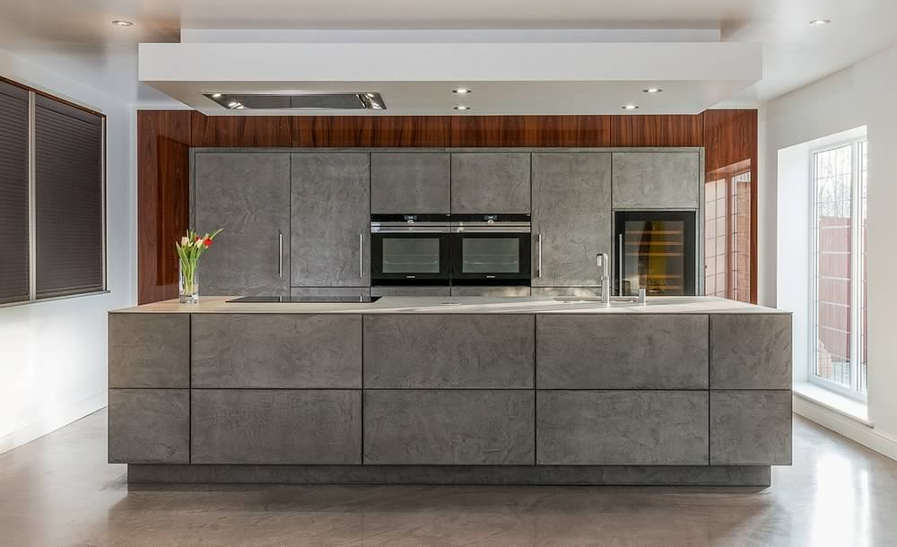 concrete look german handleless kitchen design Gallery Image