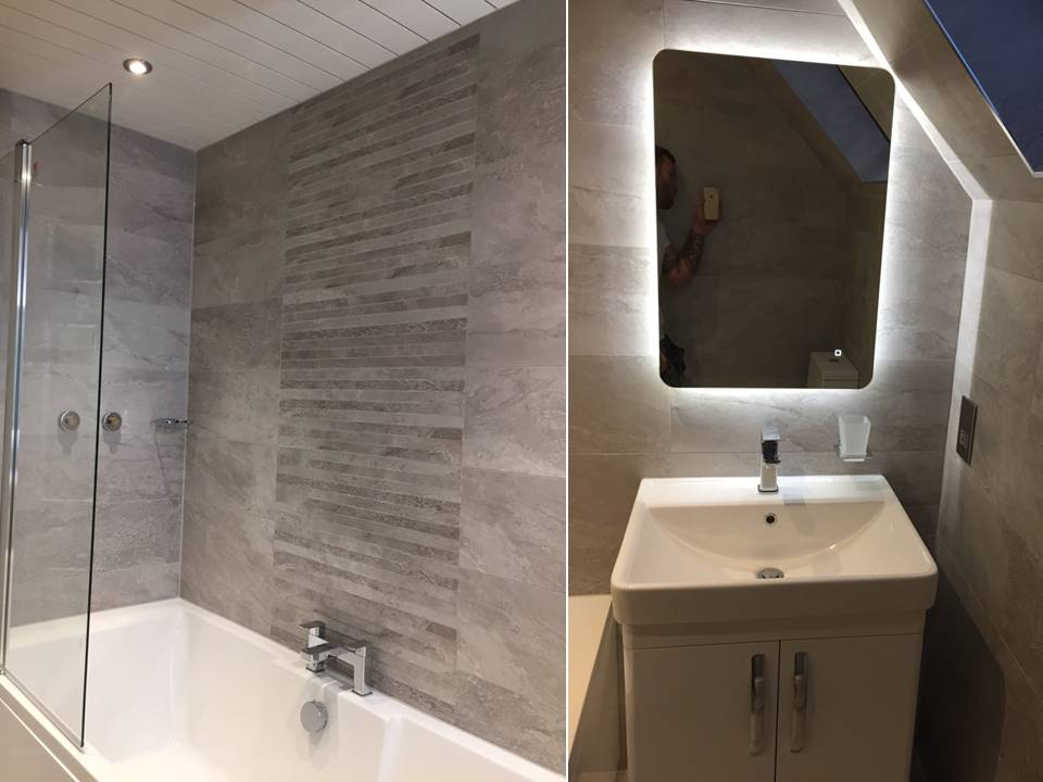 fitted bathroom with waterfall tiles and led mirror Gallery Image
