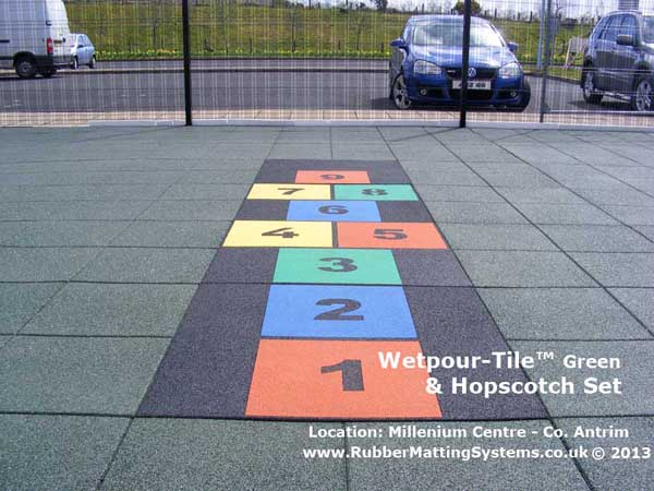 child safe - wetpour tile -  rubber matting systems - hopscotch Gallery Image