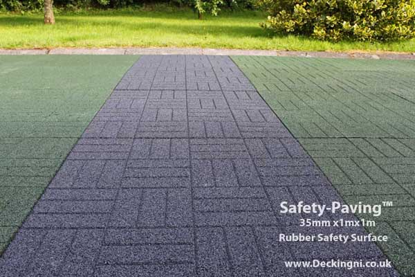 non slip patio - safety paving - grey and green Gallery Image