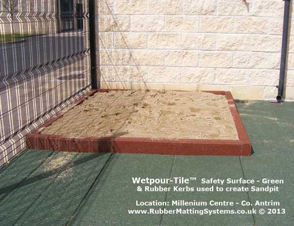 rubber kerb - rubber matting systems - used to build sand box Gallery Image