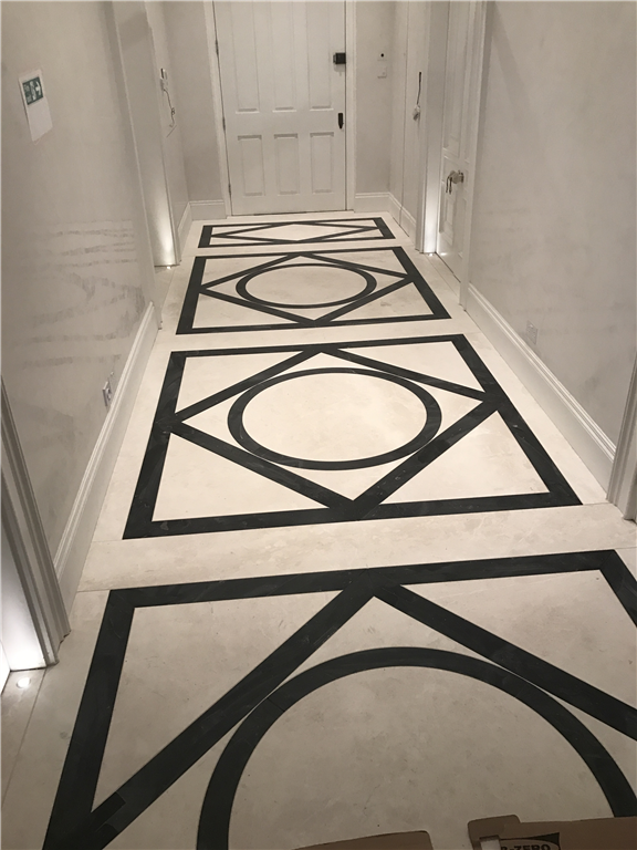 White Emperador marble and Belgian Blue limestone patterned floor, London. Gallery Image