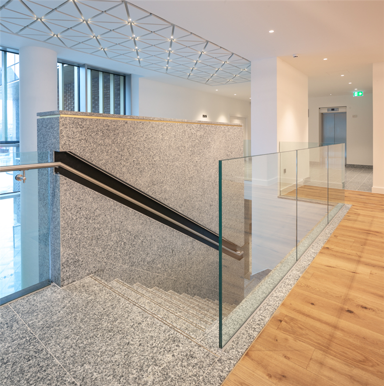 Serizzo Antigorio granite staircase, Exchange Court, Manchester. Gallery Image