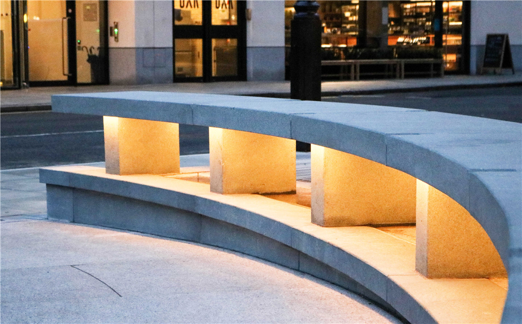 Leaf Green Granite bench, Chiltern Place, London w1 Gallery Image