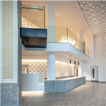Serizzo Antigorio granite floor tiles, wall cladding and reception desk, Exchange Court, Manchester. Gallery Thumbnail