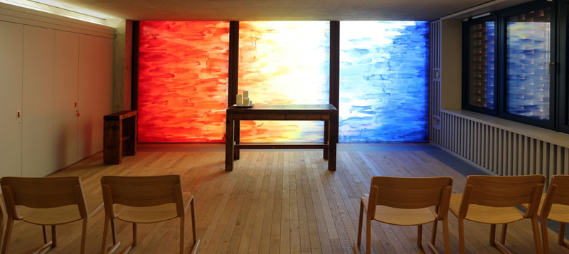 Public Art, Hand-painted Glass Art, Interfaith Chapel, London Gallery Image