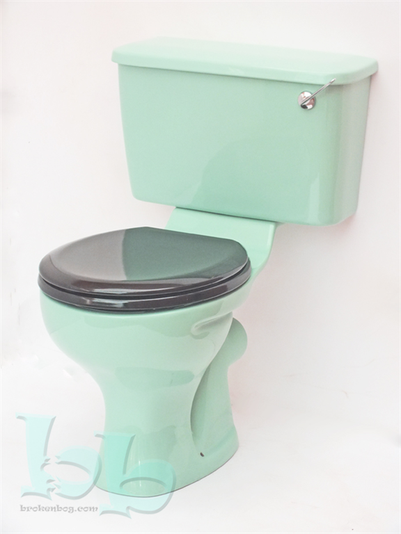 Close-coupled toilet suite in Turquoise with Black seat Gallery Image