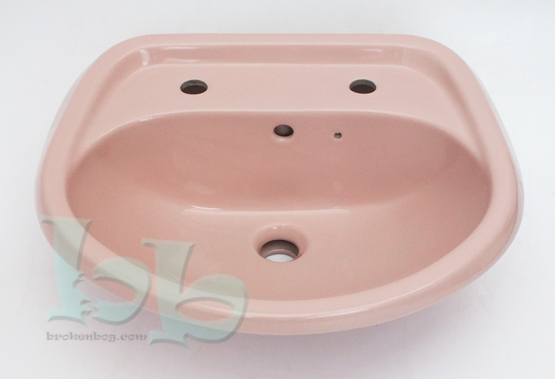 Coral Pink washbasin 2TH - many other colours, sizes and styles available Gallery Image