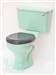 Close-coupled toilet suite in Turquoise with Black seat Gallery Thumbnail