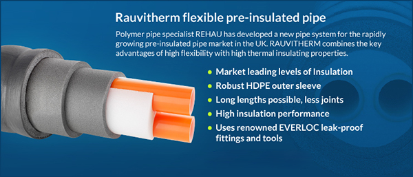 For district heating, biomass and biogas systems, the ideal solution for transporting hot water with minimal heat loss. We now offer the superb Rauthermex & Rauvitherm Pre-Insulated pipe. Available in long lengths, depending on pipe size up to 400m. Gallery Image
