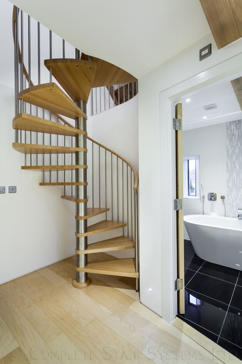 Bespoke Spiral Stair, with Beech treads and vertical balustrade  Gallery Image