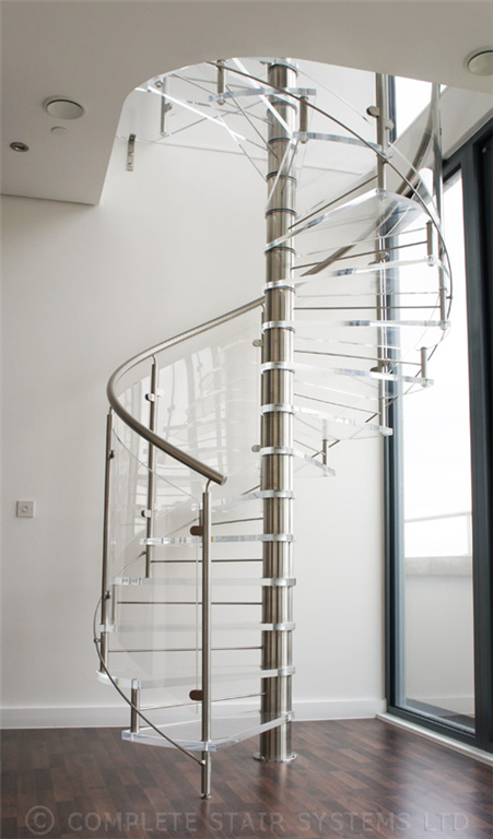 Bespoke Spiral Stair with 30mm acrylic treads, curved balustrade panels and stainless handrail Gallery Image