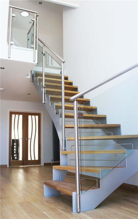 Bespoke 1/4 Turn, Oak Treads with Framed Glass Balustrade  Gallery Image