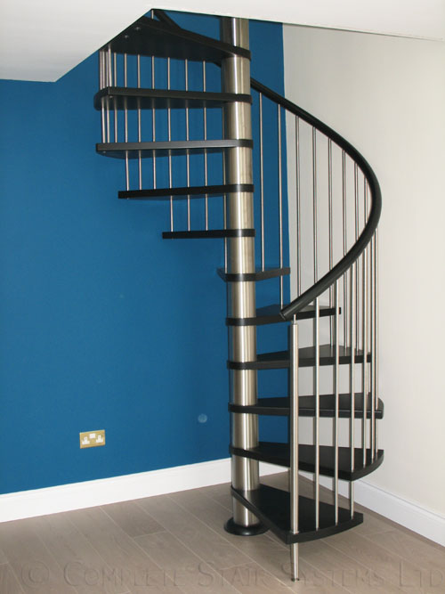 Bespoke Ash Timber Spiral with vertical steel spindle balustrade  Gallery Image