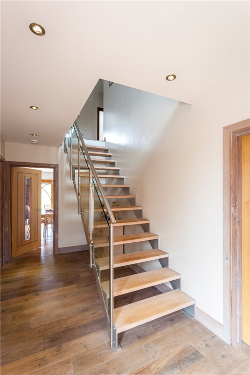 Bespoke Straight Flight, Beech treads and Framed Glass Balustrade  Gallery Image