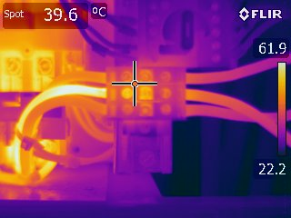 A Thermal Image Of A Cables, Where One Of The Cable (Hot Spot) Is Showing A Deficiency. The Naked Eye Could Not Detect This. Use Geo Therm Ltd To Help You Find Any Electrical Issues. Gallery Image