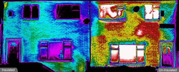 Poor cavity fill in a semi-detached house. Using our advanced thermal imaging systems we can locate any issues. Call Geo Therm Ltd today on 01501 723241 and see the results for yourself. Gallery Image