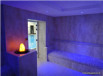 De luxe commercial steam room with illuminated crystal feature and ceiling mounted colour changing fibre optic lighting system. Gallery Thumbnail