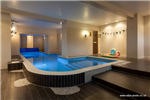 9.00 x 2.00 domestic skimmer design mosaic tiled pool with swim jet, in a basement Gallery Thumbnail